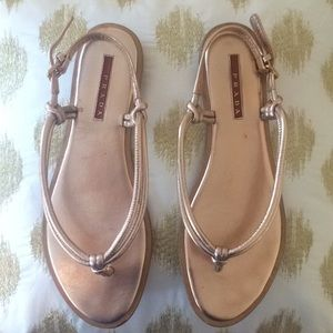 Prada rose gold sandal